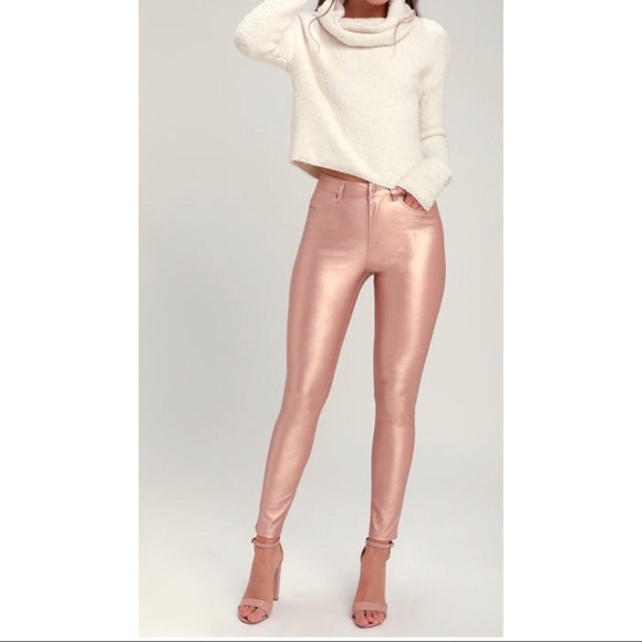 64a0de48674b10 Free People Pants | Rose Gold Jean Leggings | Poshmark